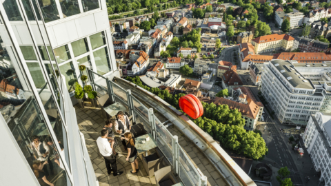 Blick vom JenaTower auf die Innenstadt Jenas © JenaKultur, Foto: Andreas Hub