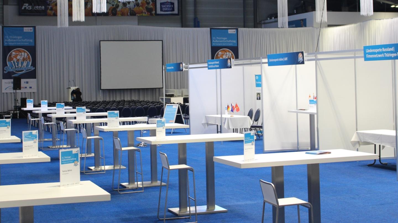 Sparkassen-Arena Jena: Die Multifunktionshalle ist für eine Messe vorbereitet