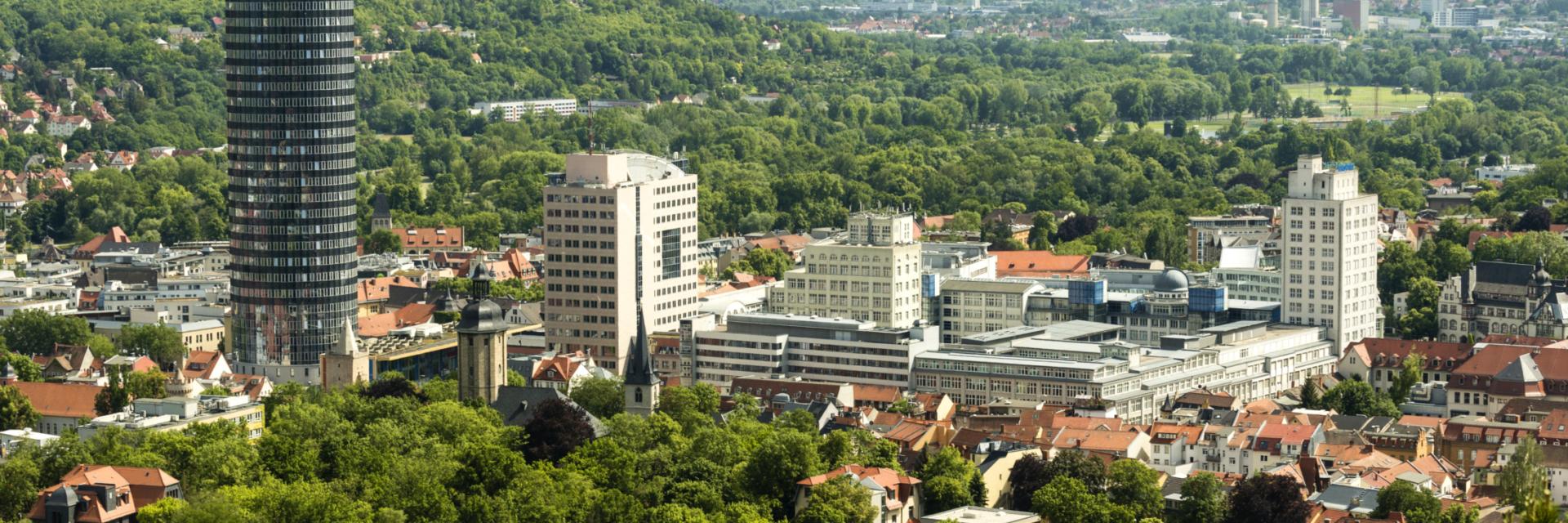 Luftaufnahme der Tagungsstadt Jena - Fachbesuch in Jena