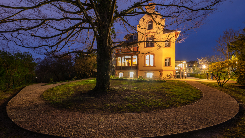 Kiesweg im Garten der Villa Rosenthal bei Nacht © JenaKultur, Foto: André Gräf