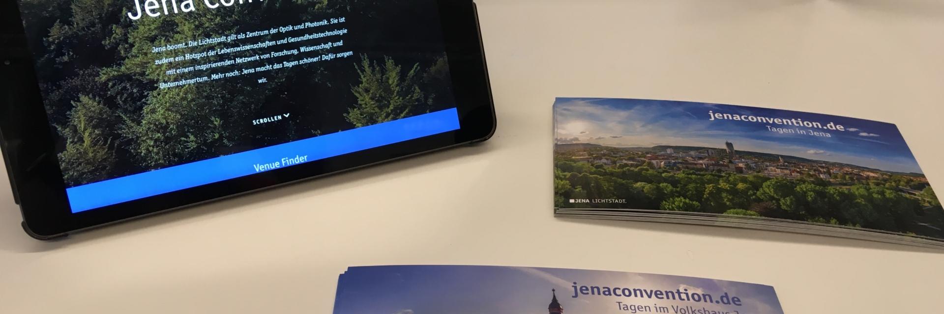 Die Auslage des Jena Convention Bureau auf der LOCATIONS Mitteldeutschland © JenaKultur, Foto: Jenny Marx