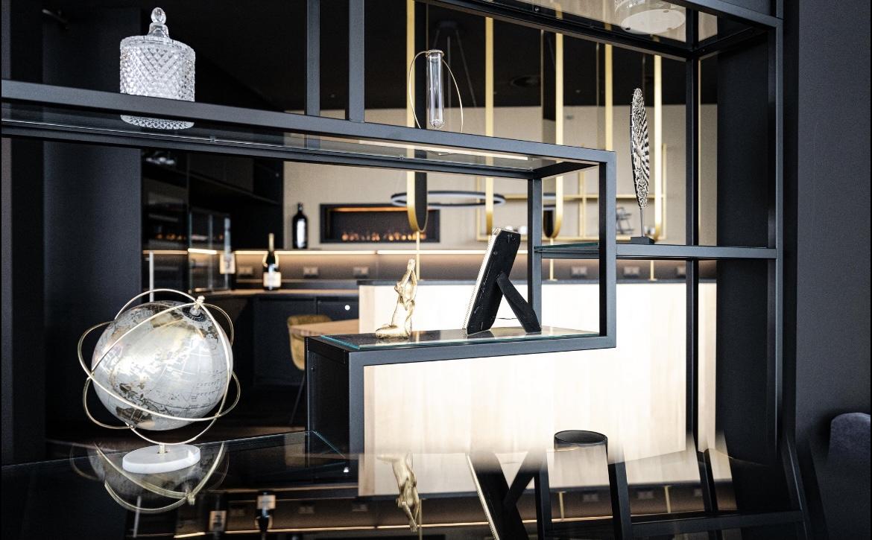 Blick zur Bar im SCALA Restaurant durch freistehendes Regal